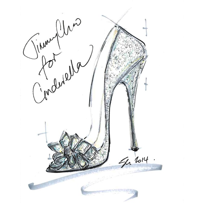 Modern design Cinderella Shoe draft - Luxxu Blog modern design Jimmy Choo creates modern design Cinderella Shoe worthy of Fairy tale Jimmy Choo CINDERELLA sketch