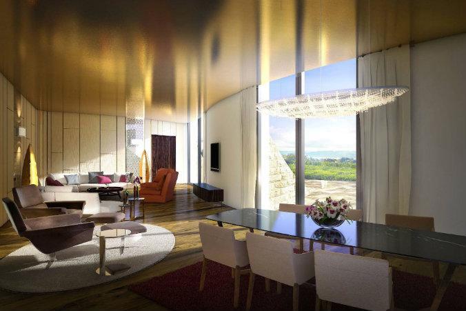 Luxury lighting at modern design hotel lighting design Most famous hotels with luxurious lighting design TDG Terrazza Living Rendering
