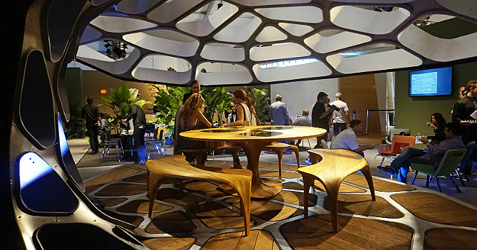 Zaha Hadid launches contemporary dining pavilion at design Miami