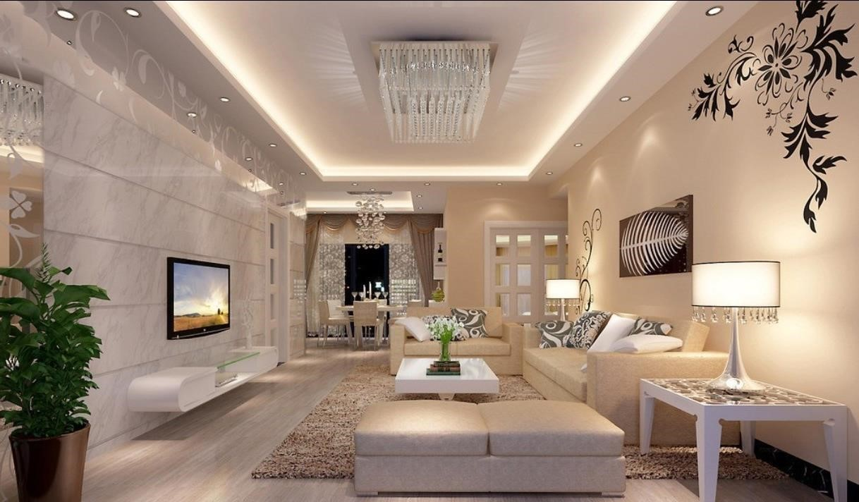 living room with luxurious interior lights