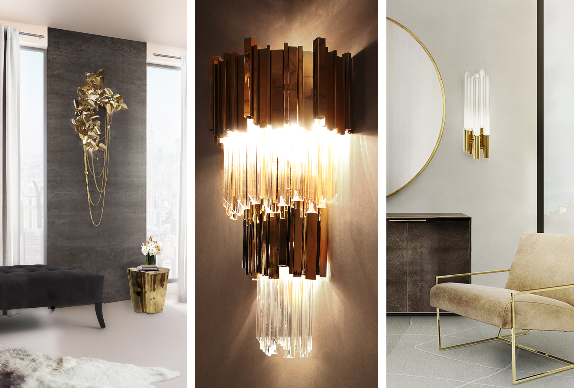Luxury design: wall lights by Luxxu to create a glamorous decor