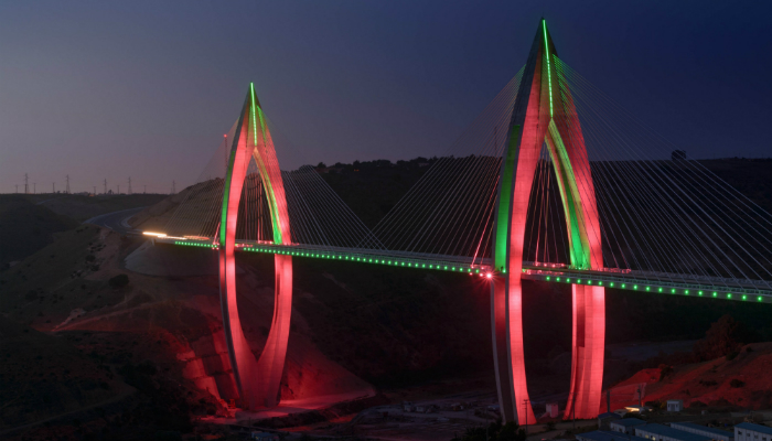 The fantastic lighting design of Africa's longest cable-stayed bridge - light show lighting design The fantastic lighting design of Africa's longest cable-stayed bridge The fantastic lighting design of Africa   s longest cable stayed bridge light show 1