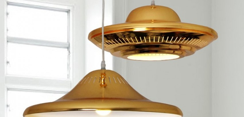 pendant lamps Spring Trends 2016: chic pendant lamps Modern Luxury Golden LED Pendant Light Flying Saucer UFO Shape Droplight Bedroom Bar Cafe Art Decorative 850x410