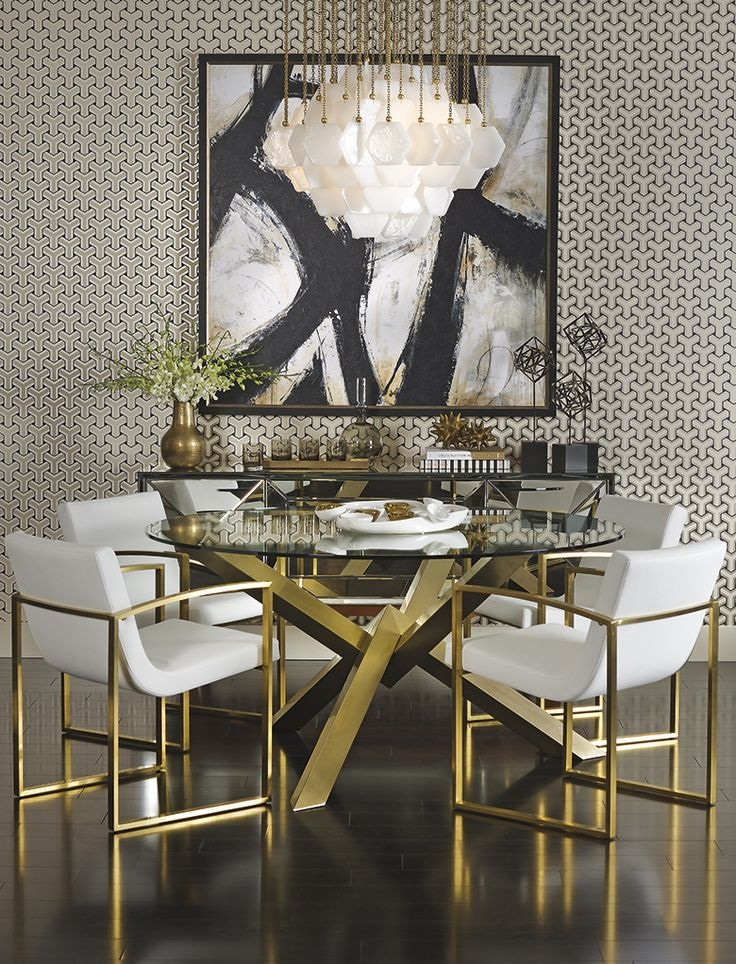 Dining Room Trends dining room trend Dining Room Trends: New Use Of Metals Metallic dining chairs table Pinterest