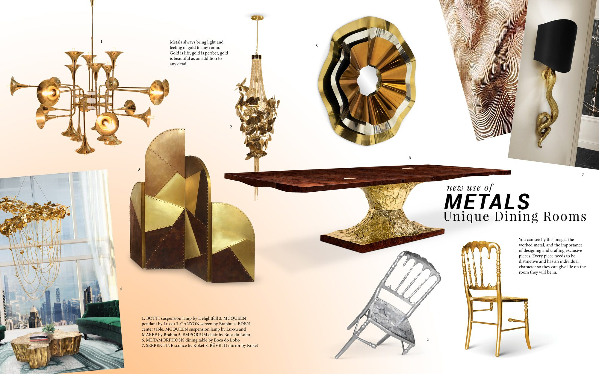 Dining Room Trends: New Use Of Metals gold Gold lighting from the most luxurious brands moodboard trends 2019 metals gold Gold lighting from the most luxurious brands moodboard trends 2019 metals