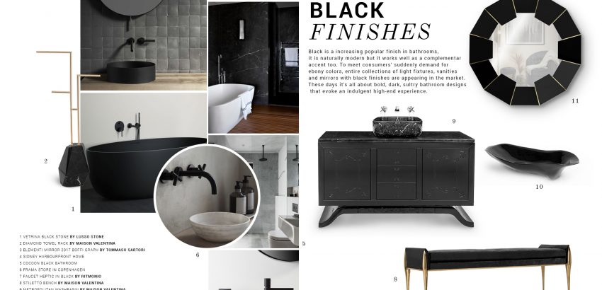 Bathroom Trends: Black Finishes bathroom trend Bathroom Trends: Black Finishes moodboard trends maison valentina black finishes 850x410