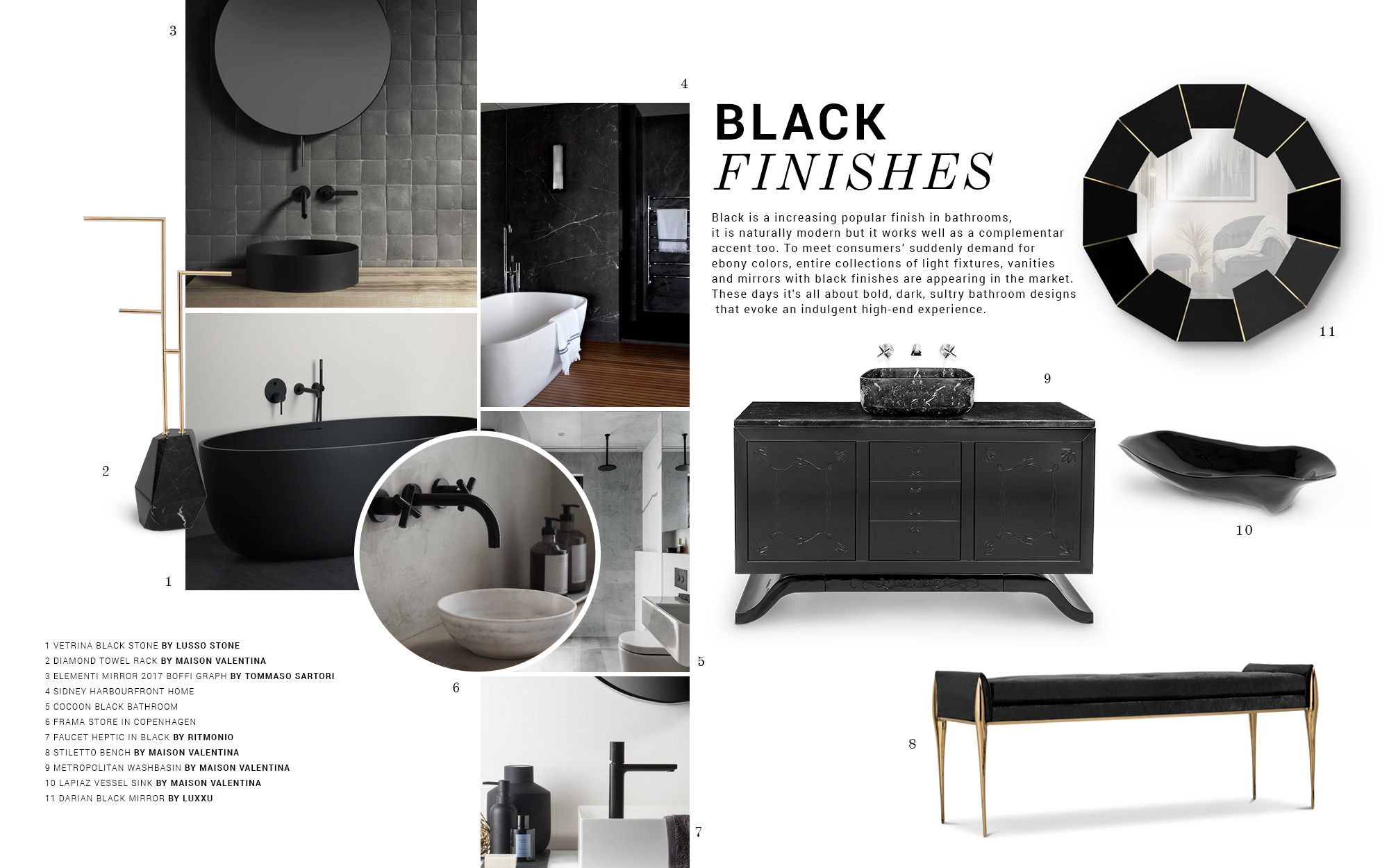 Bathroom Trends: Black Finishes bathroom trend Bathroom Trends: Black Finishes moodboard trends maison valentina black finishes