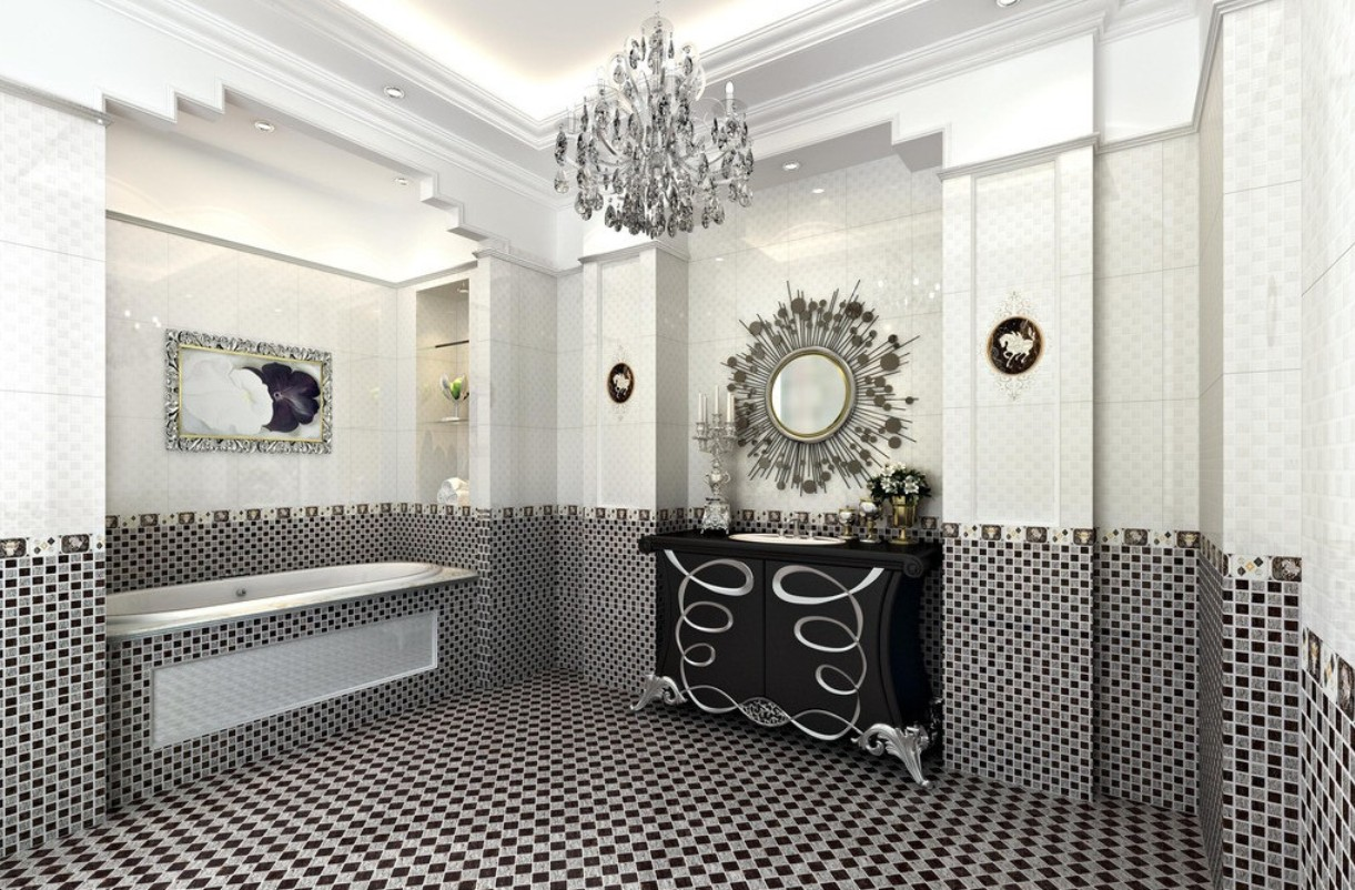 Bathroom Trends: Black Finishes bathroom trend Bathroom Trends: Black Finishes mosaic black and white bathroom designs with carved mirror and ceiling lap also elegant bath up
