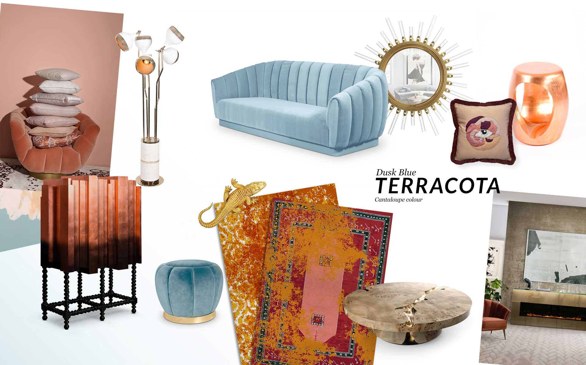 Color Trends: Dusk Blue, Terracotta and Cantaloupe color trends Color Trends: Dusk Blue, Terracotta and Cantaloupe moodboard trends 2019 terracotta