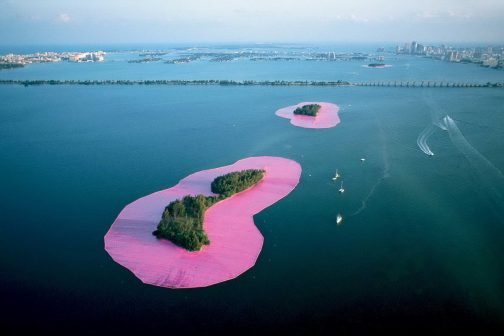 Christo: 5 Stunning Projects to Remember Him By christo Christo: 5 Stunning Projects to Remember Him By Christo and Jeanne Claude Documentary photograph of Surrounded Islands Biscayne Bay 504x336
