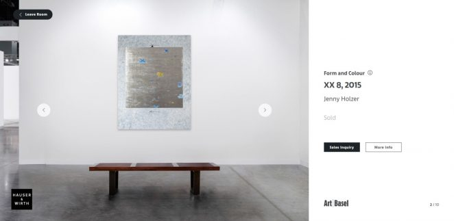 Art Basel is Launching Digital Viewing Rooms art basel Art Basel is Launching A Virtual Show Hauser Wirth Jenny Holzer XX 8 2015 Art Basel Hong Kong Online Viewing Room 662x323