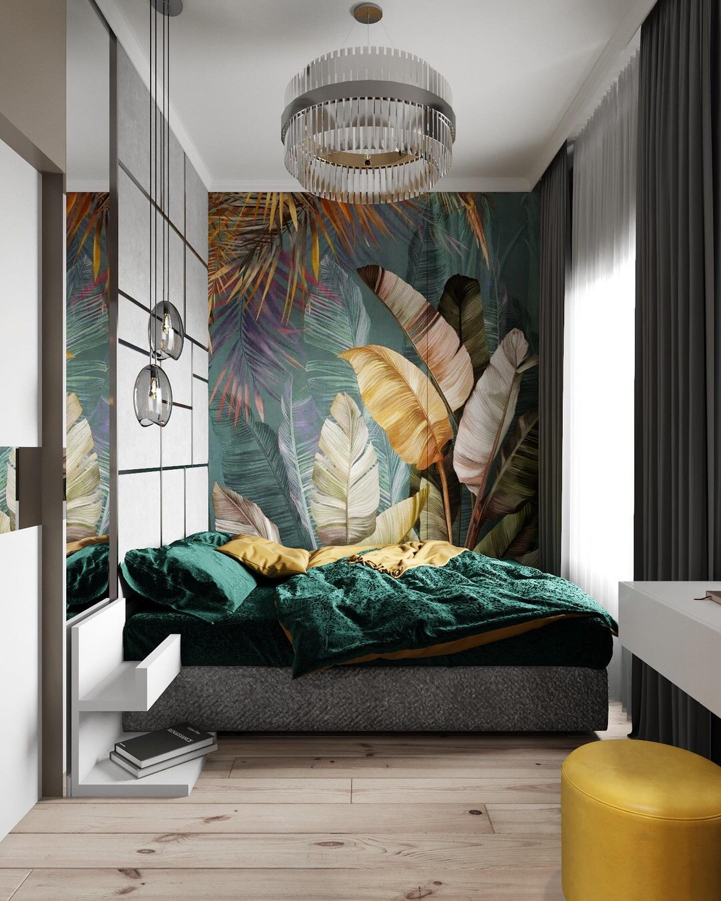 Interior design green bedroom interior design Interior Design Ideas with a Splash of Color 74304874 1245085662352537 6520598930512674816 o
