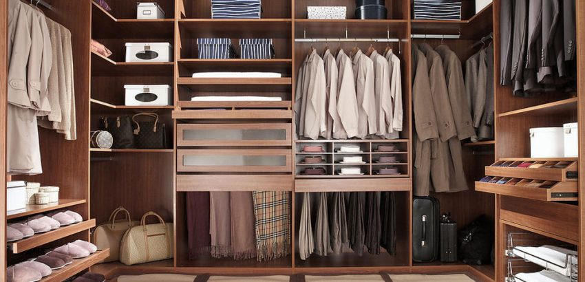 suit up Suit Up With The Best Closet Design Trends In 2021 walk in closet for men masculine closet design 850x410