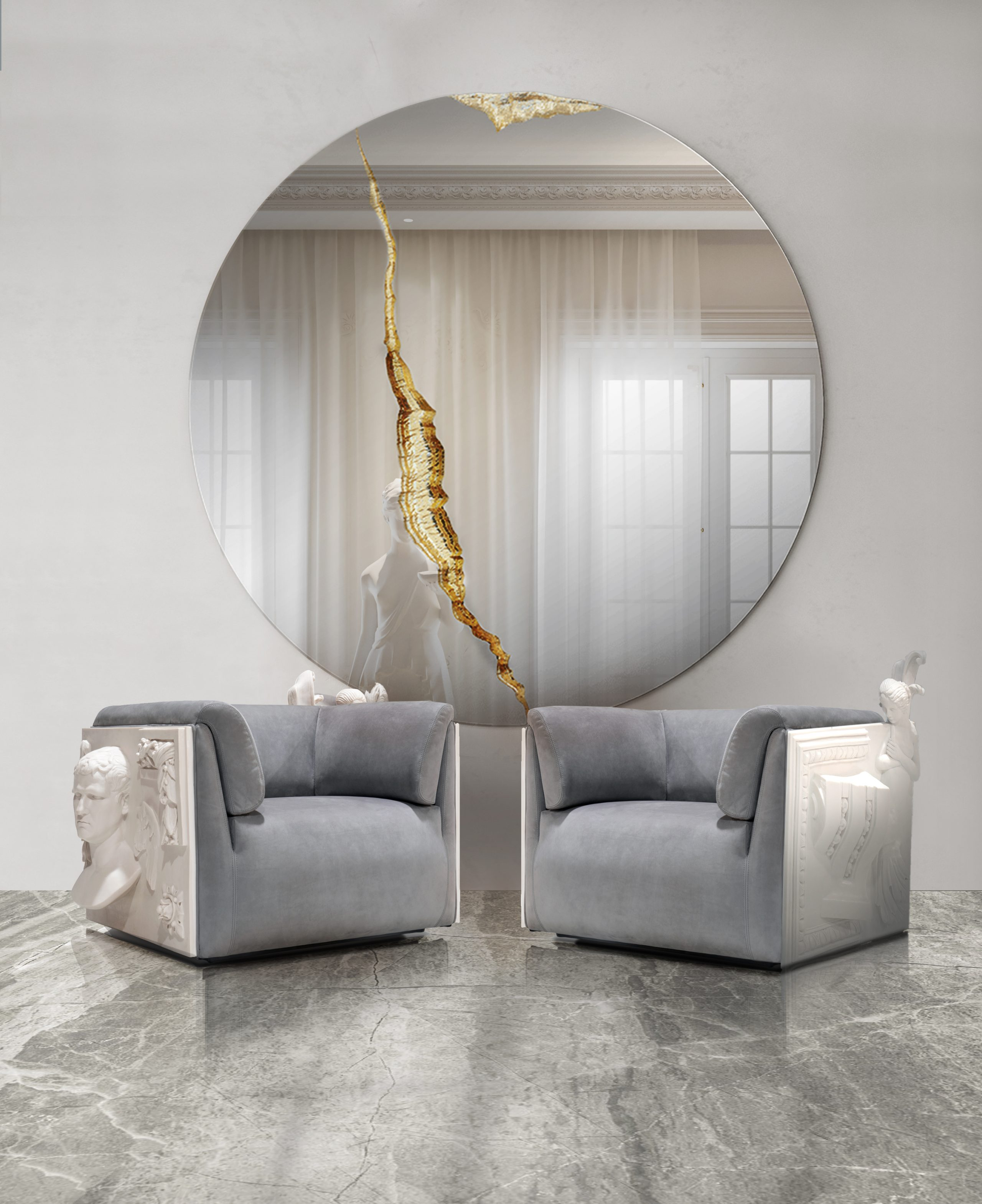 Two modern classic armchairs, living room ambiences