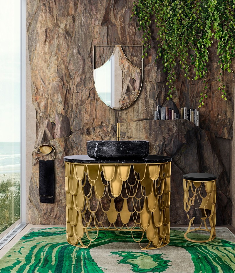Nature is incorporated into the design of this bathroom