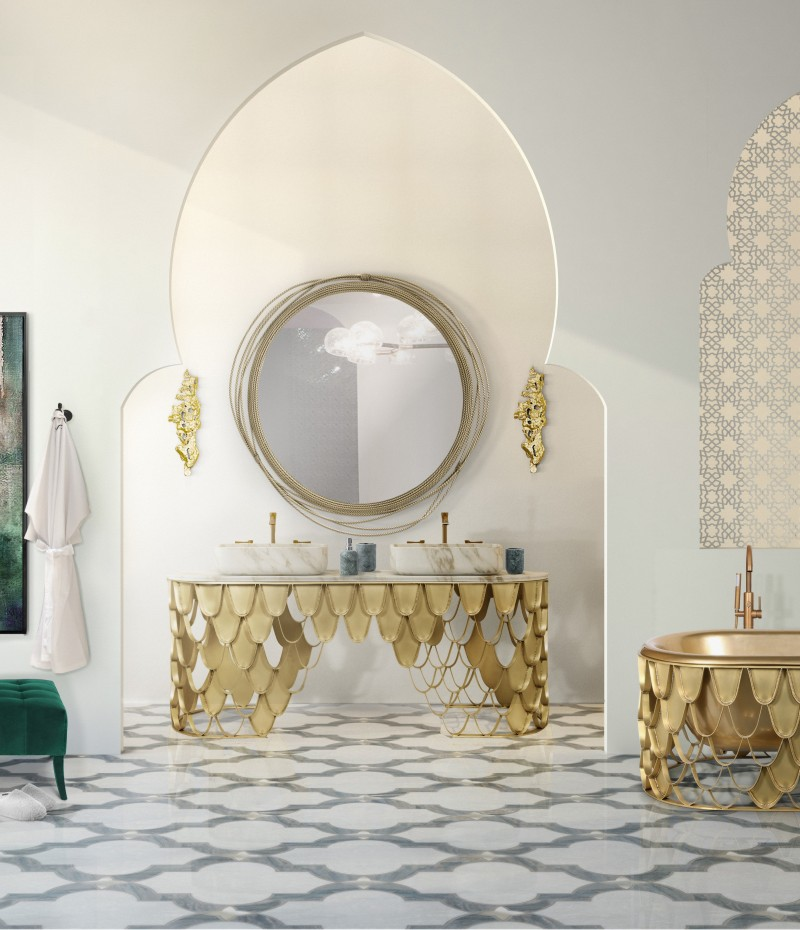 bathroom with gold accents