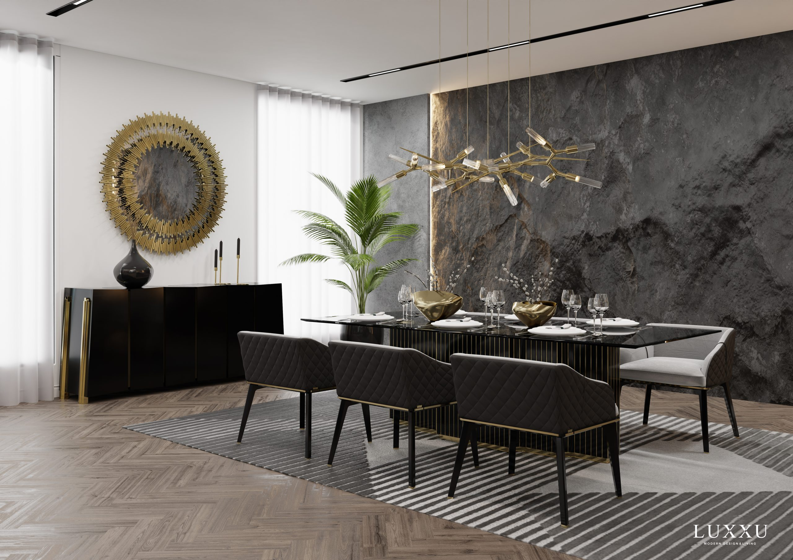 Living Room and Dining Room Ambiences with Luxury Design Brands